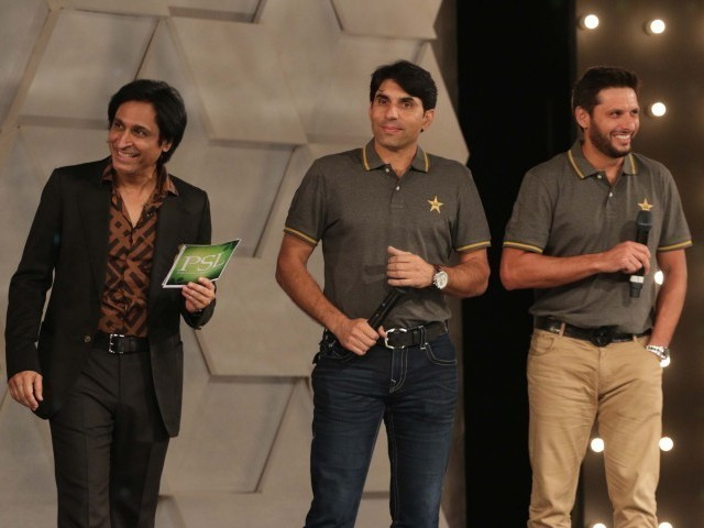 rameez raja stands on stage along with misbahul haq and shahid afridi at the psl launch ceremony in lahore on september 20 2015 photo shafiq malik express