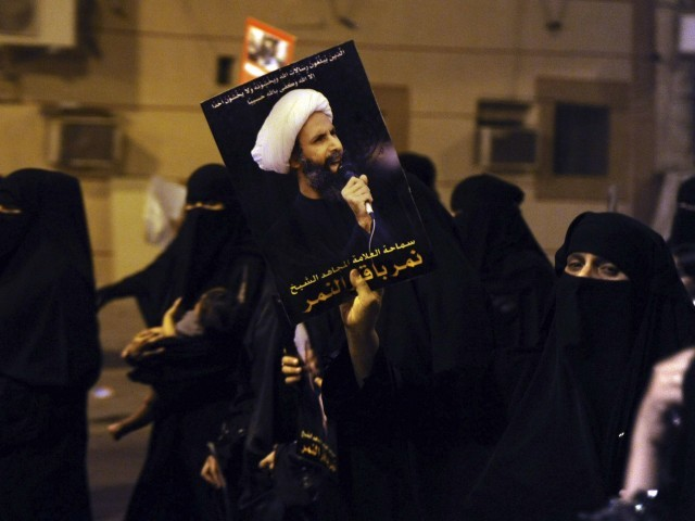 A file photo of Shias protesting  in Saudia Arabia for the safe release of Sheikh Nimr al-Nimr. PHOTO: REUTERS