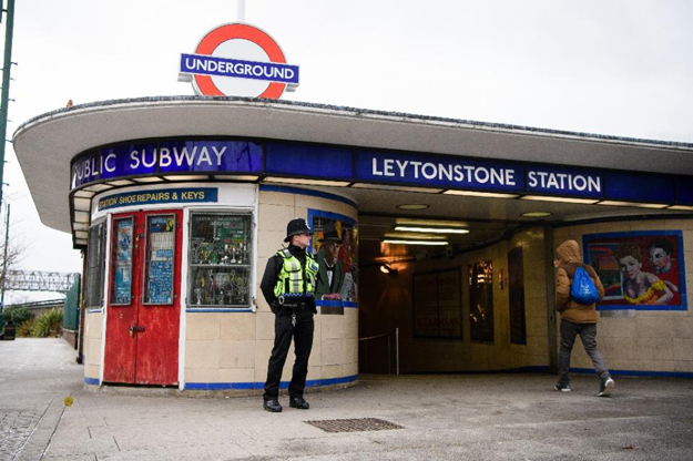 a police officer stands guard outside leytonstone station in north london on december 6 2015 a day after the stabbing a man was being held in custody after three people were stabbed at a london underground train station in an attack police were treating as a quot terrorist incident quot one eyewitness shouted quot you 039 re no muslim quot at the suspect as he was pinned down by police officers at the suburban leytonstone station amateur video footage showed while a pool of blood was seen in the ticket hall photo afp