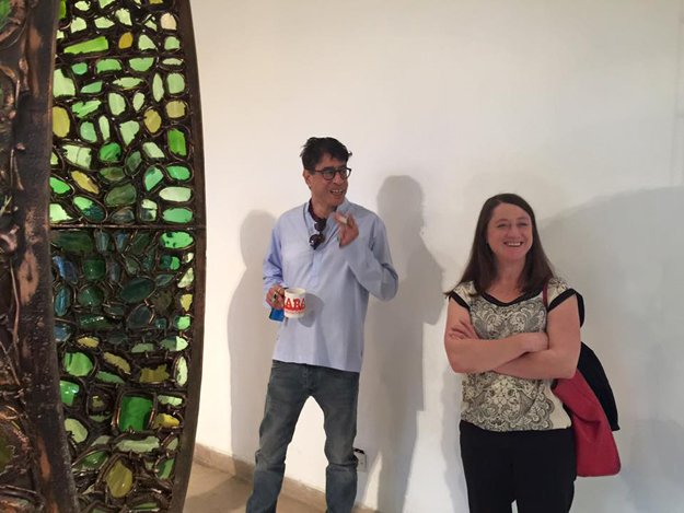 """At Amin""""s gallery with Antji . Project Manager of the Berlin Biennale. PHOTO: fb.com/Karachi.Biennale"""