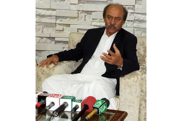Sindh Minister Nisar Ahmed Khuhro addressing a press conference. PHOTO: ONLINE