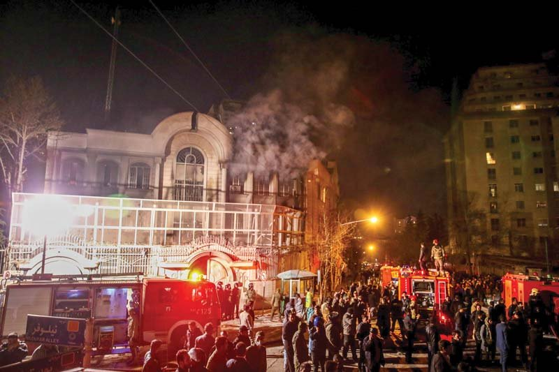 Iranian protesters set ablaze the Saudi embassy in Tehran during demonstrations against Nimr's execution. PHOTO: AFP