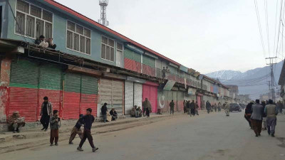 Shops closed during strike in Chilas. PHOTO COURTESY: MUJEEBUR RAHMAN