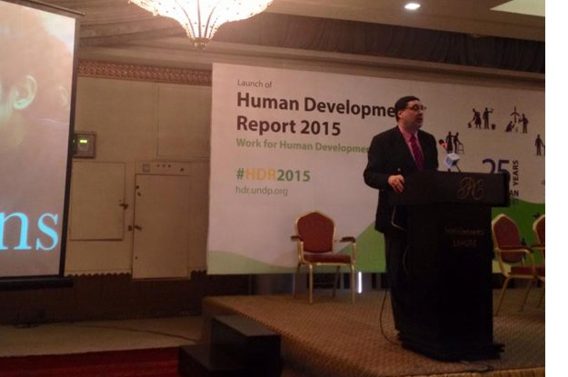 Adil Najam speaking at the launch of the Human Development Report in Lahore‬. PHOTO: fb.com/undppakistan