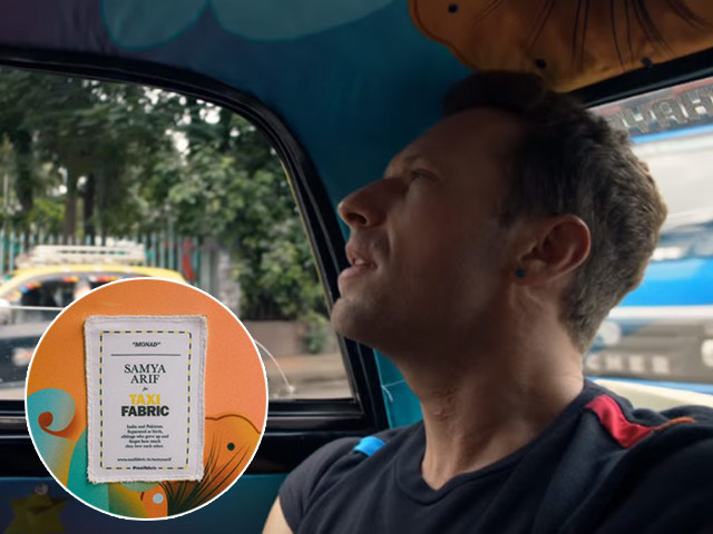 music video features chris martin seated at the back of the taxi designed by samya arif screengrab