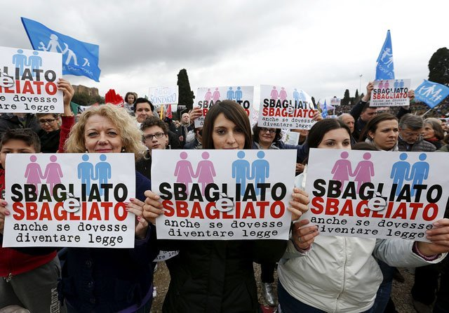 rome hosts large rally against same sex unions and gay adoption
