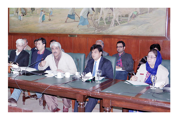 adviser to chief minister on health khawaja salman rafique presiding over a meeting all public medical colleges and medical superintendents of teaching hospitals photo nni