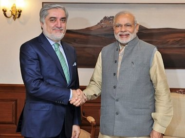 afghan chief executive officer abdullah abdullah l shakes hands with indian prime minister narendra modi r during the former 039 s visit to new delhi on february 01 2016 photo indian mea
