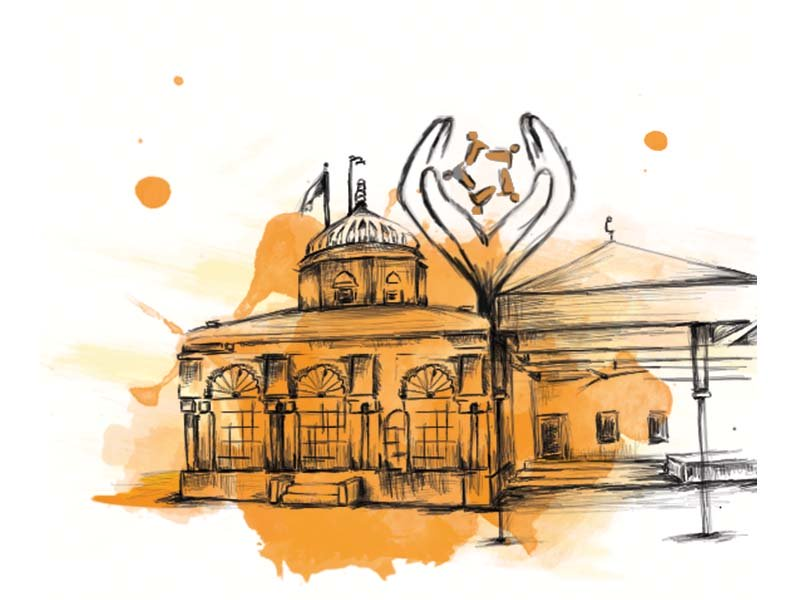 At the ashram in Islamkot, spirituality and philanthropy transcend boundaries of faith. DESIGN/ILLUSTRATION: MARYAM RASHID