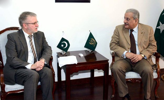 chairman senate mian raza rabani exchanging views with micheal gahler former chief of european union election observation mission at parliament house photo inp