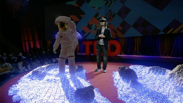 in this february 18 2016 handout photo provided by ted microsoft inventor alex kipman demonstrates hololens device at ted2016 dream at the convention center in vancouver photo afp