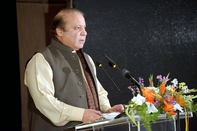 "Prime Minister addressing participants on the screening of documentary ""A Girl in the River"" at PM's office in Islamabad on February 22, 2016. PHOTO: PID"