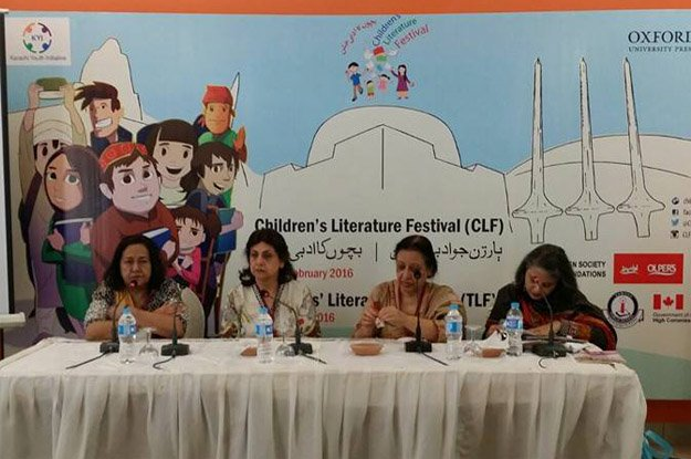 khursheed hyder moderated the session 039 bringing our precious heritage to our children 039 with ameena saiyid fahmida riaz and sarwat mohiuddin as speakers photo fb com oupp