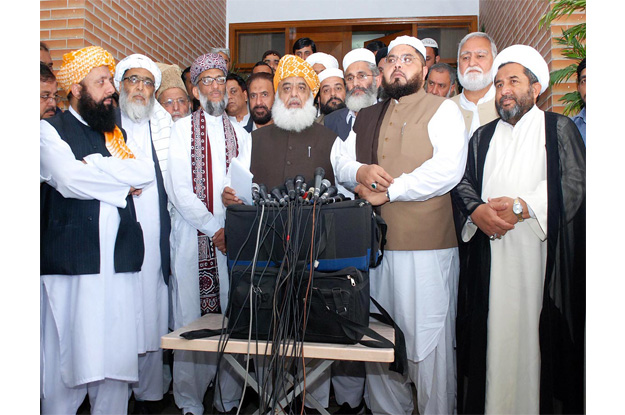 jui f chief maulana fazlur rehman speaking to the media after hosting a consultative meeting of all major religious parties photo online