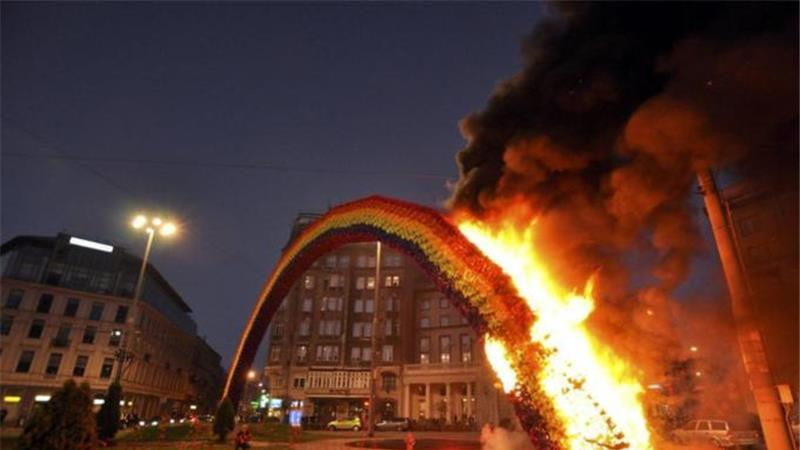 A rainbow installation in Warsaw symbolising diversity was set on fire by far-right demonstrators. PHOTO: REUTERS