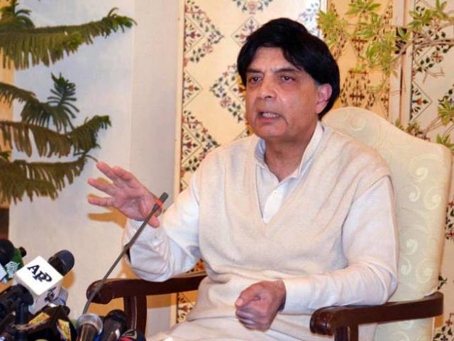 Interior minister Chaudhry Nisar addresses a press conference at Punjab House in Islamabad on March 5, 2016. PHOTO: PID