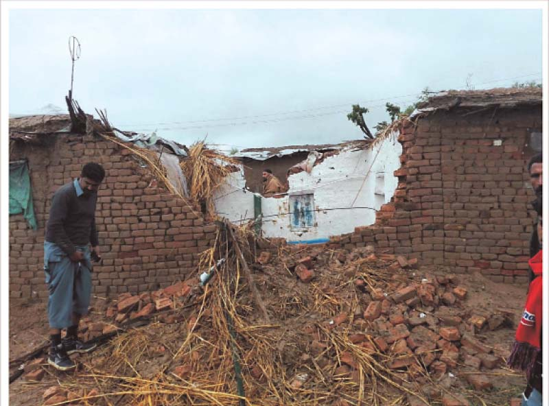 a home that collapsed after rains in gujar khan photo asad malik express