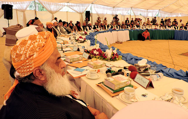 jui f chief maulana fazlur rehman and other leaders attend a joint meeting of religious organisations on women protection bill in lahore on march 15 2016 photo nni