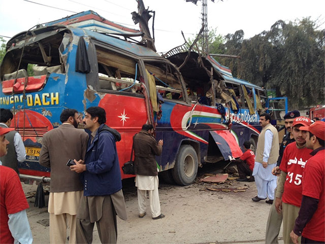 the blast was in a bus carrying employees of civil secretariat government officials coming from mardan photo riaz ahmad