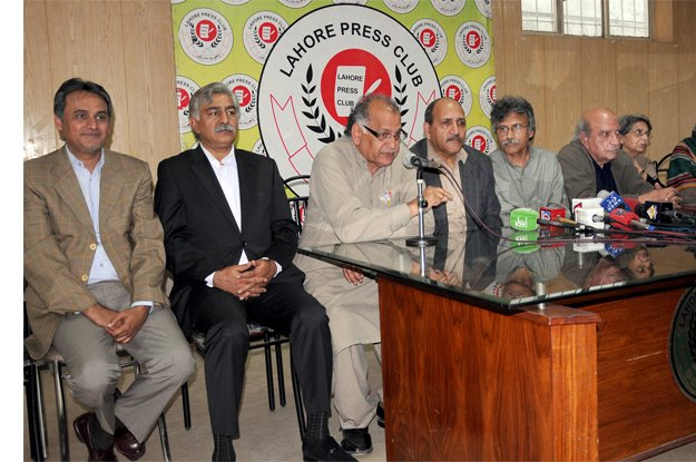 Members of Joint Action Committee addressing a press conference at Lahore Press Club.  PHOTO: EXPRESS
