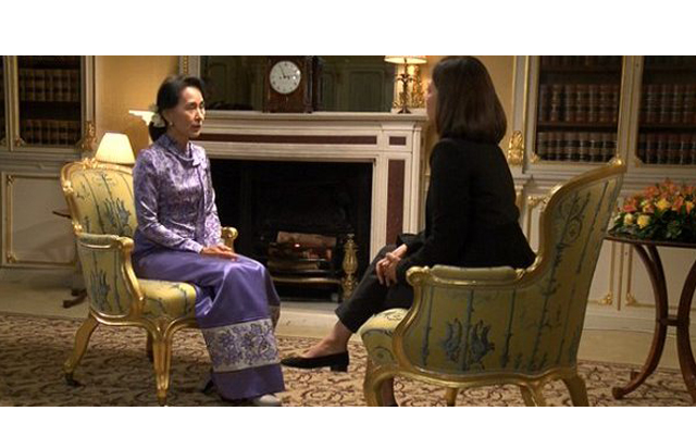 Aung San Suu Kyi being interviewed by BBC's Mishal Hussain. PHOTO COURTESY: BBC