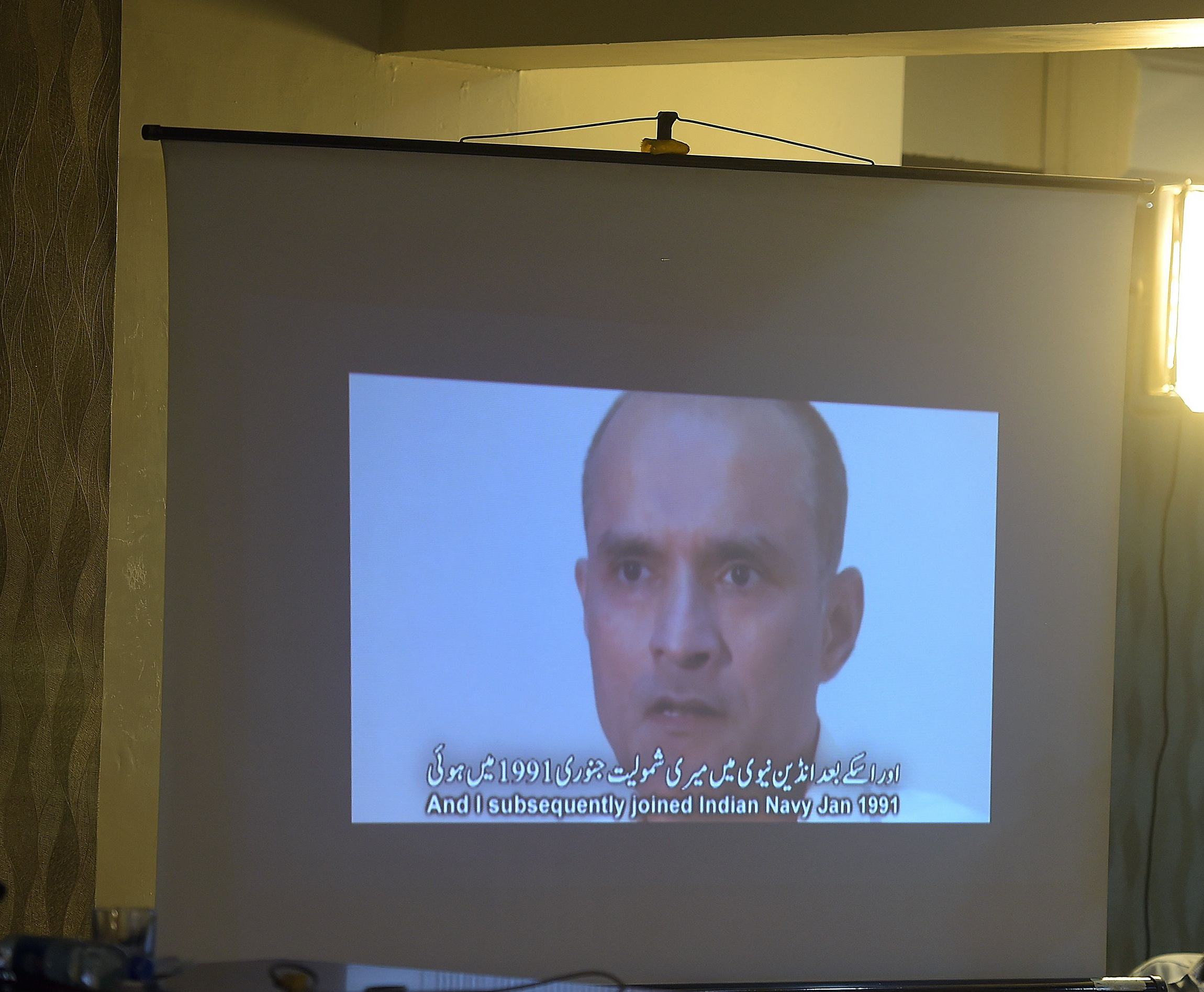 Video shows Kulbhushan Yadav, who is suspected of being an Indian spy, during a press conference in Islamabad on March 29, 2016. PHOTO: AFP