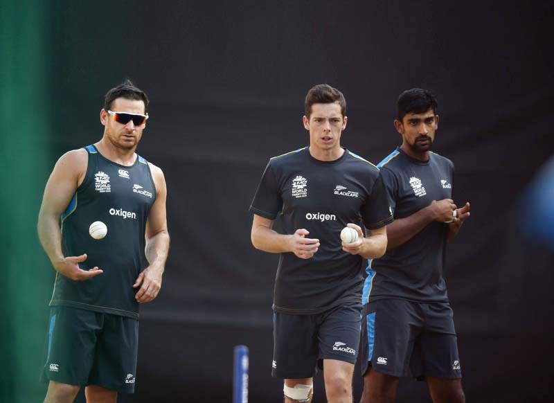 nathan mccullum l santner c and sodhi prepare to bowl in the nets during a training session at feroz shah kotla cricket ground in new delhi new zealand the only unbeaten side in the tournament have the spin trio to largely thank for their wins photo afp