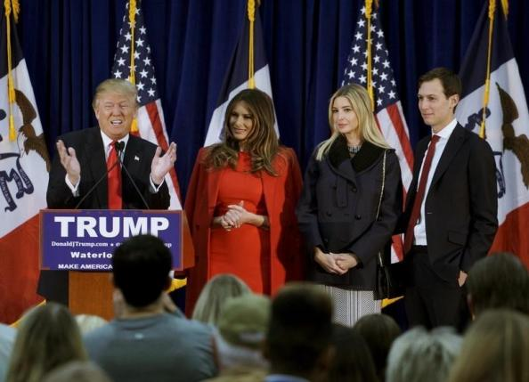 u s republican presidential candidate donald trump speaks as l r his wife melania daughter ivanka and ivanka 039 s husband jared kushner listen at a campaign rally on caucus day in waterloo iowa february 1 2016 photo reuters