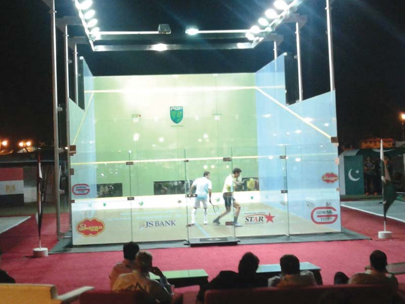 the glass courts a state of the art facility which allows the court to be set up anywhere are being used in the legends v champions series the first time such a facility is being used in pakistan photo courtesy psf