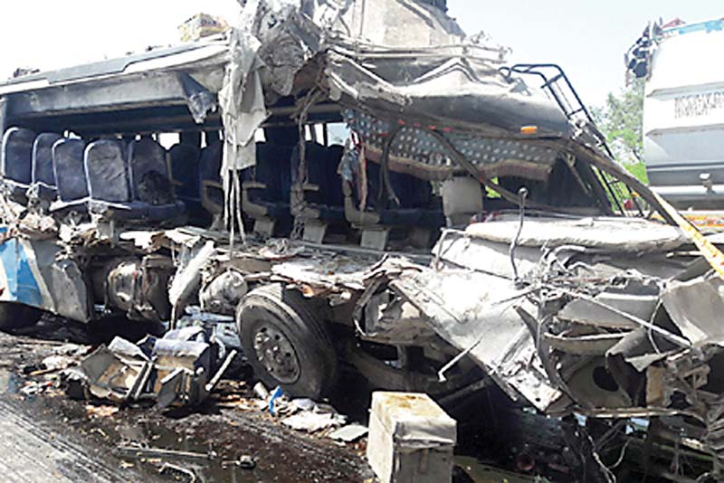 the wreckage of the bus which met with an accident on mm road near harnoli photo expreess
