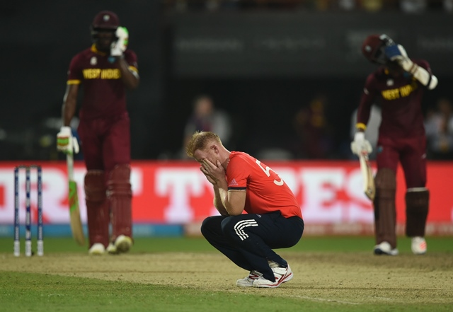 ben stokes reacts after being hit for consecutive sixes in world t20 final against west indies at the eden gardens cricket stadium in kolkata on april 3 2016 photo afp