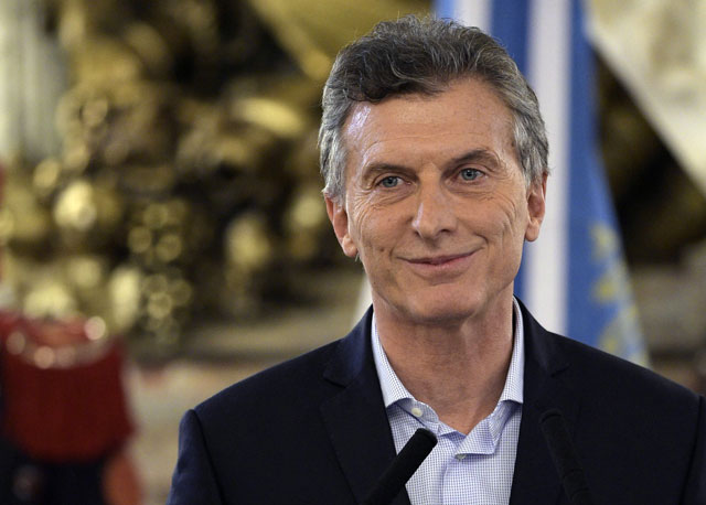 argentine president mauricio macri arrives to deliver a speech at casa rosada government palace in buenos aires on april 7 2016 after a prosecutor opened an investigation on his offshore financial dealings leaked in the panama papers photo afp