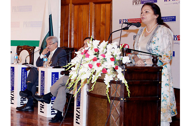 finance minister dr ayesha ghaus pasha addressing a seminar titled smart tax administration and development organised by the punjab revenue authority photo nni