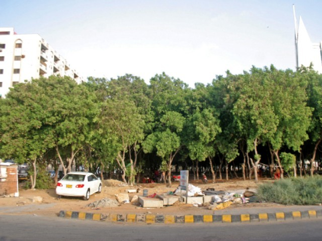 parks department accuses private builder of cutting around 70 trees photo athar khan express