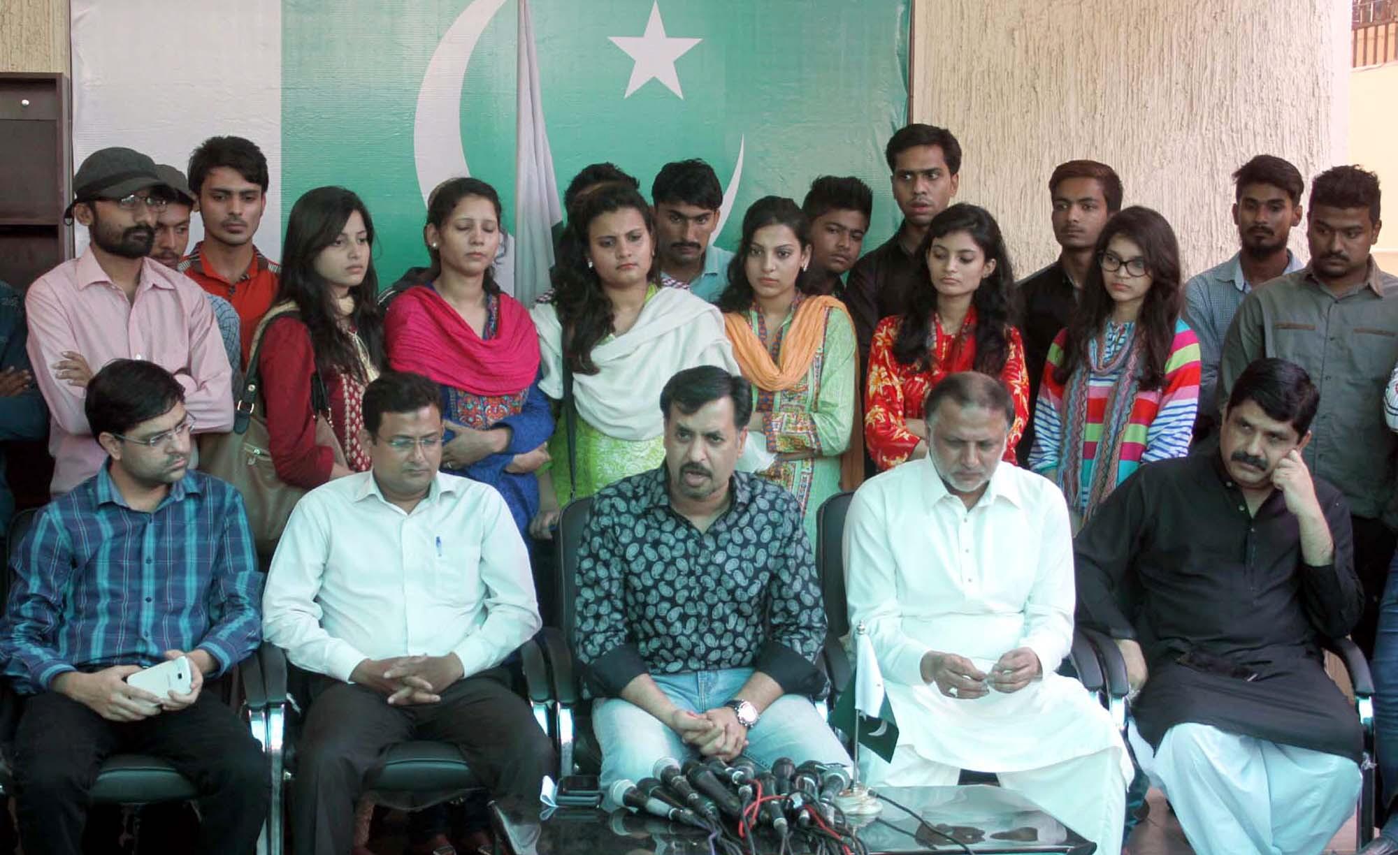 mustafa kamal addresses a press conference in karachi on monday photo ppi