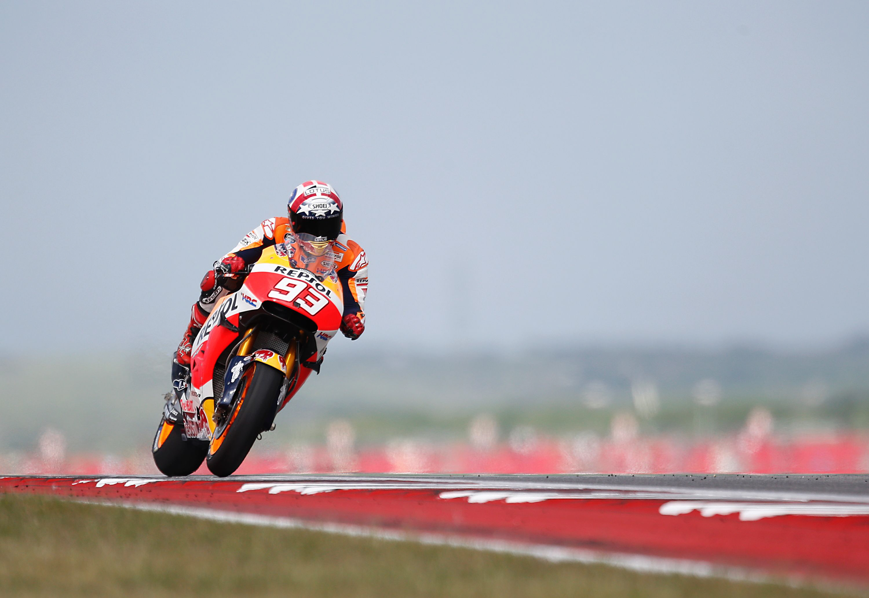 marc marquez takes a practice round during the 2016 grand prix of the americas moto gp race at circuit of the americas in austin texas on april 9 2016 photo afp