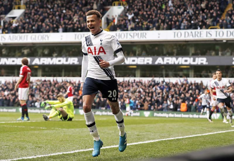 alli celebrates after opening the scoring against united it was his goal which broke the red devils resolve and allowed spurs to register an emphatic 3 0 win photo reuters