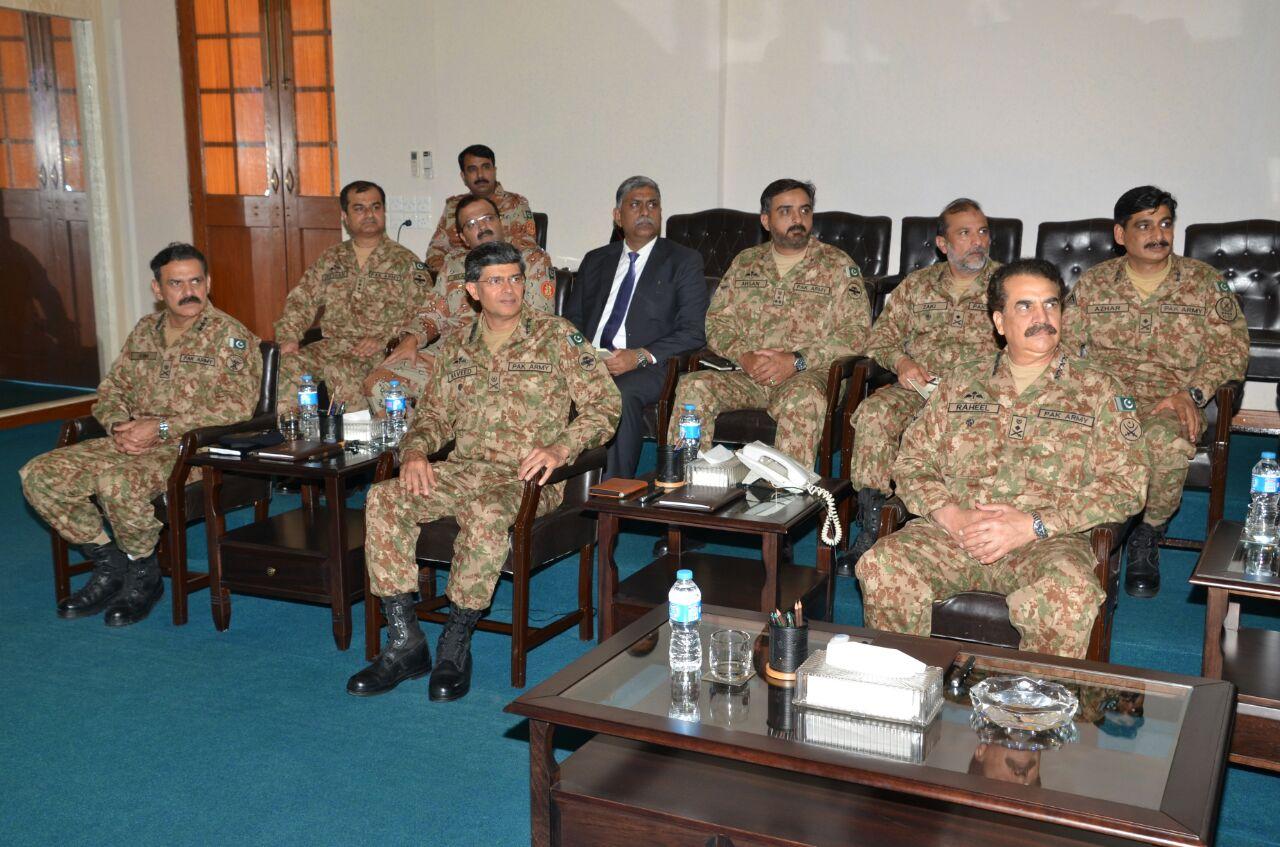 army chief general raheel sharif chairs a meeting in karachi on april 13 2016 photo ispr