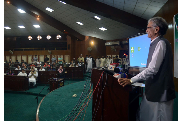 chief minister pervez khattak addressing councillors at district assembly hall photo ppi