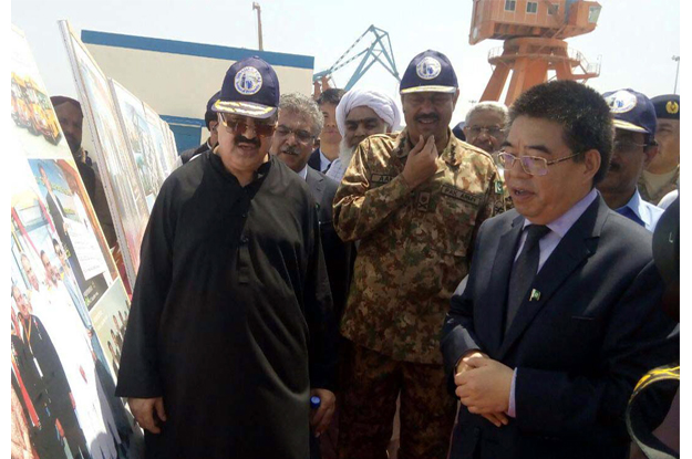 cm balochistan and commander southern command general amir riaz visiting the gwadar coast photo express