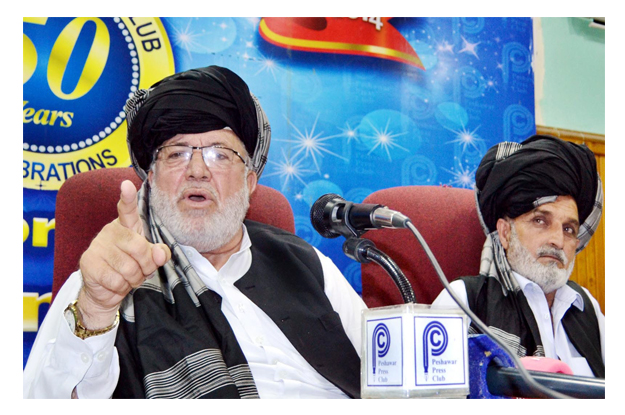 fata grand alliance chief malik marjan wazir addressing a press conference at ppc photo inp