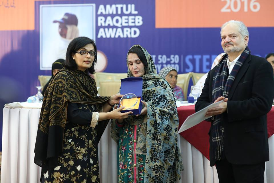 hussn jamala from district shangla khyber pakhtunkhwa receiving her award from dr sania nishtar   founder president heartfile and qazi azmat isa ceo ppaf photo facebook