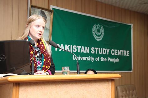 prof agnieszka kuszewska speaking at punjab university s pu pakistan study centre during a lecture photo fb com pu