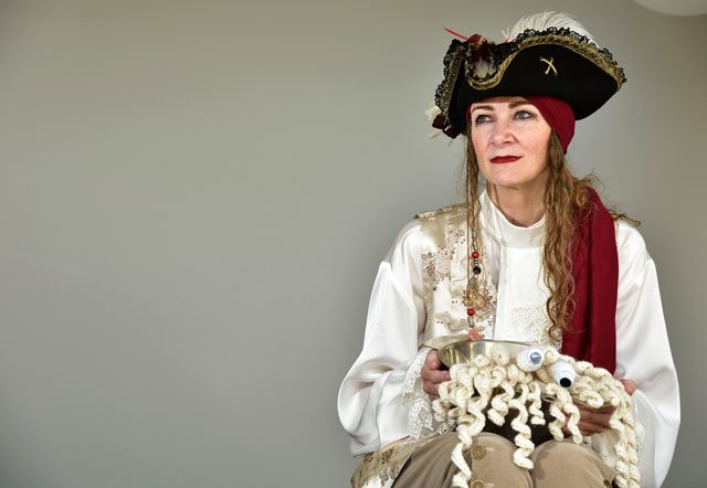 in this photo taken in wellington on april 15 2016 karen martyn from the church of the flying spaghetti monster poses in her pirate outfit that she will wear at the church 039 s first legally recognised wedding to be held on april 16 photo afp