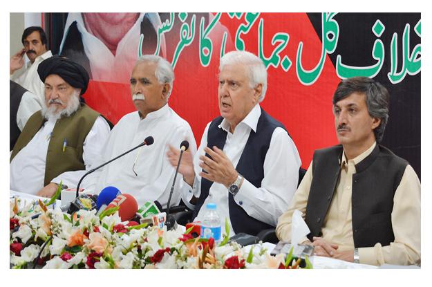 qaumi watan party chief aftab ahmad khan sherpao speaks during apc photo nni