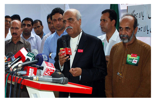 the leader of the opposition in the national assembly syed khursheed shah talking to media at karachi press club on saturday photo online