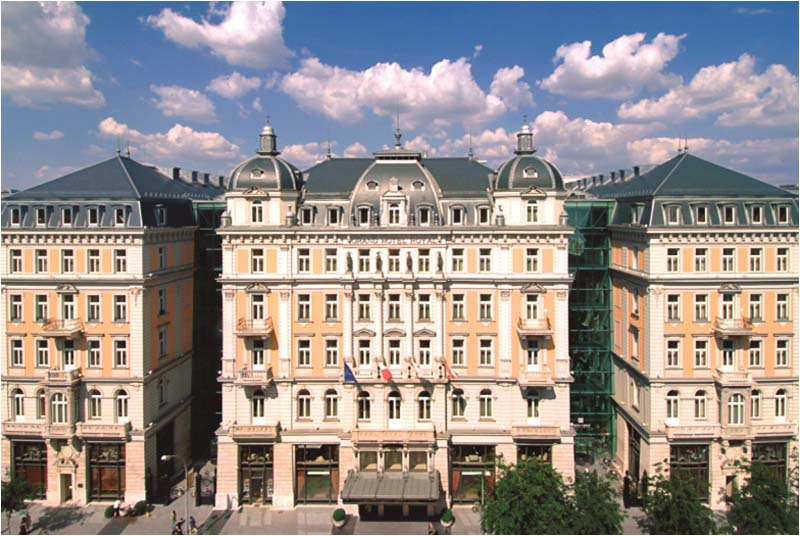 a front view of the grand hotel royal in budapest hungary photos file