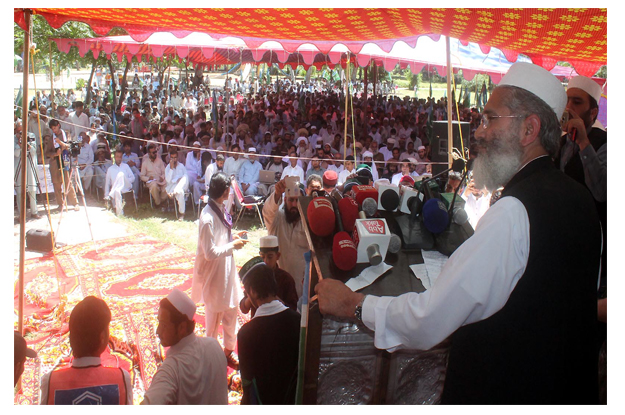 jamaat e islami ameer sirajul haq speaking at a convention held at fazal qadir shaheed park in bannu photo inp