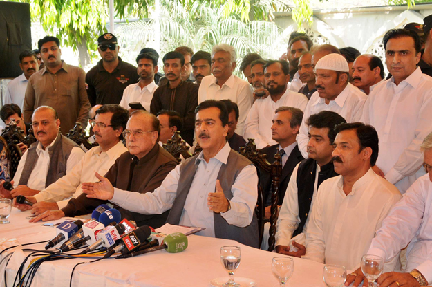 former prime minister yousaf raza gilani speaking at a farewell party arranged in the honour of mazoor wattoo photo express