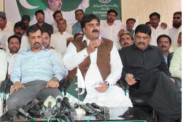 former muttahida qaumi movement mqm mpa ashfaque ahmed mangi addressing a press conference in karachi photo ppi